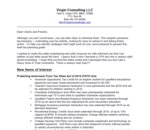 2016 Virgin Consulting LLC Client Tax Letter & Checklist